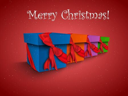 Christmas gift boxes with colorful ribbons Vector