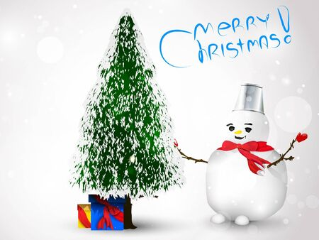 beside: Snowman with gifts beside christmas tree  Illustration