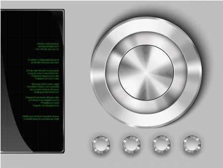 3d image: buttons on a metall background with display