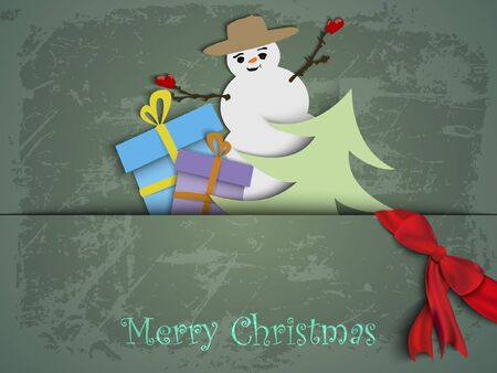 Christmas card with a snowman tree and gifts made of paper Vector