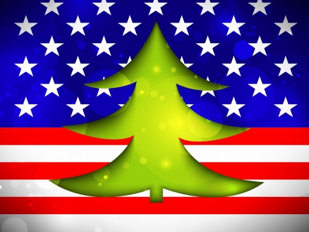 Christmas Tree on the American flag Vector