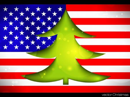 Christmas Tree on the American flag Stock Vector - 15779867