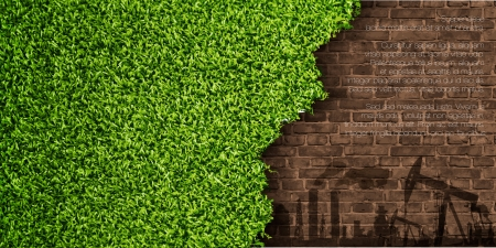 ecological concept grass with brick Vector