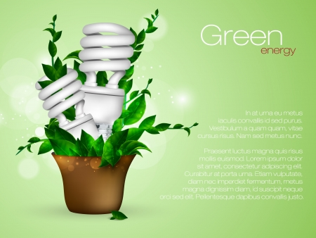 Energy saving lamp with green leaves Vector