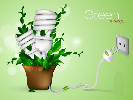hydroelectricity: Energy saving lamp with green leaves Illustration