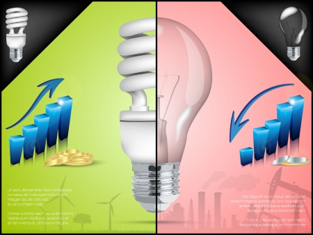 energy saving light bulb in infographic Vector