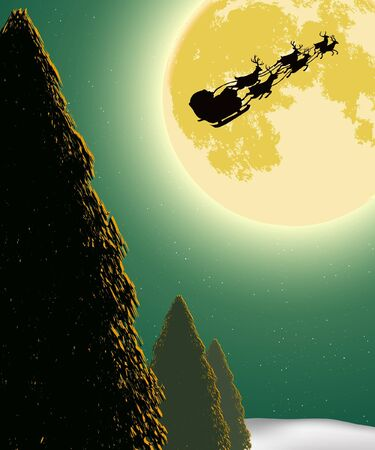 Santa Into the Winter Christmas Night Stock Vector - 15779879