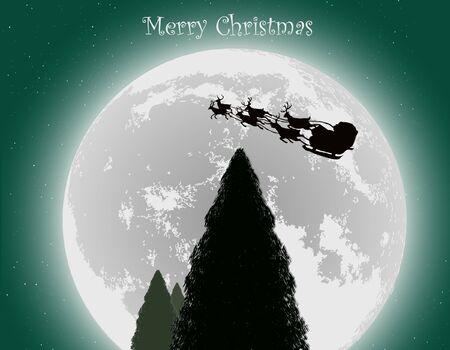 Santa Into the Winter Christmas Night Stock Vector - 15779882