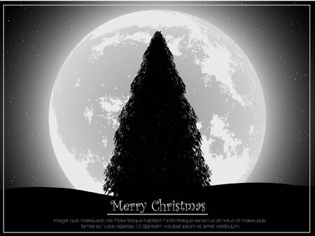 silhouette of a Christmas tree in the background of the moon Vector