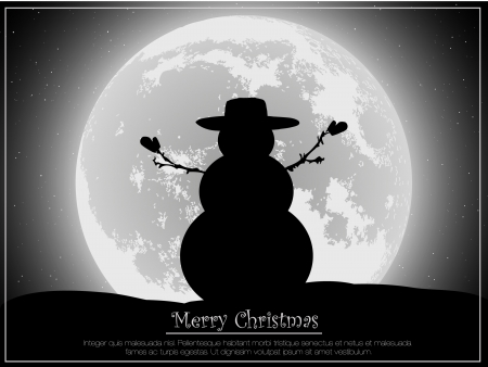 snowman silhouette against the moon Vector