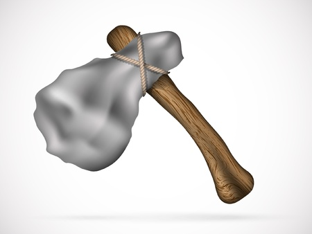 edad de piedra: herramienta antigua de la Edad de Piedra hacha, martillo