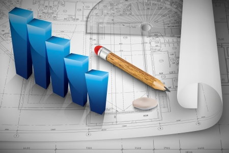 3d business graph in the drawings Illustration
