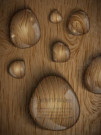 hard rain: dew drops on a wooden background