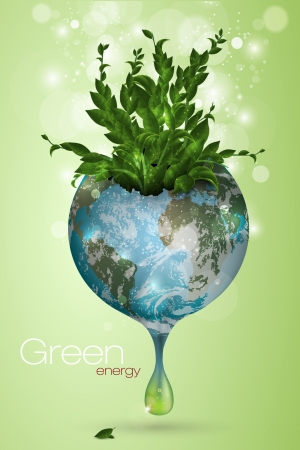 the concept of clean energy on the planet Vector