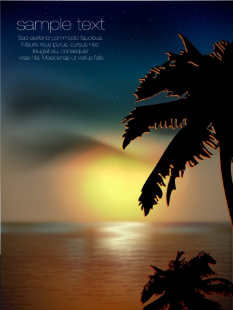 twilight: sunset on the background of the sea and palm trees Illustration