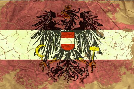 austrian flag: Vintage Austrian flag Illustration