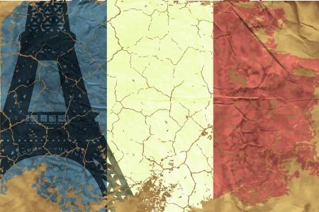 identidad cultural: Bandera francesa Vintage