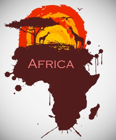 africa tree: africa, savannah fauna and flora Illustration