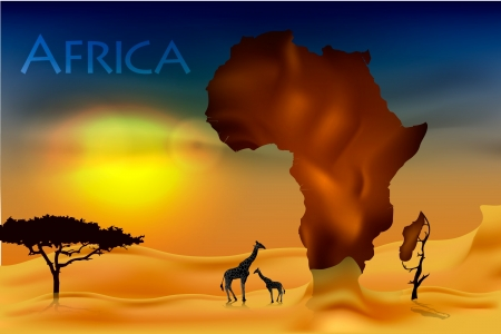 sunset clouds: africa, savannah fauna and flora Illustration