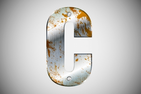 Metal letters of the alphabet C Vector
