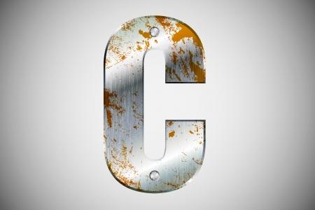 Metal letters of the alphabet C Illustration
