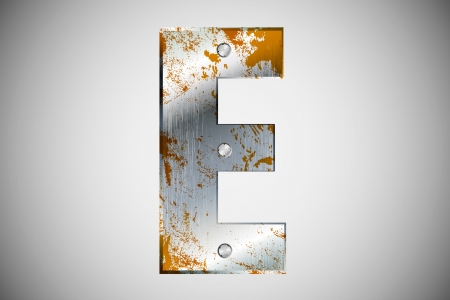 Metal letters of the alphabet E Vector
