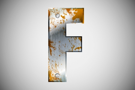 Metal letters of the alphabet F Vector