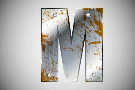 letras cromadas: Letras de metal del alfabeto M