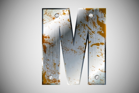 Metal letters of the alphabet M Vector