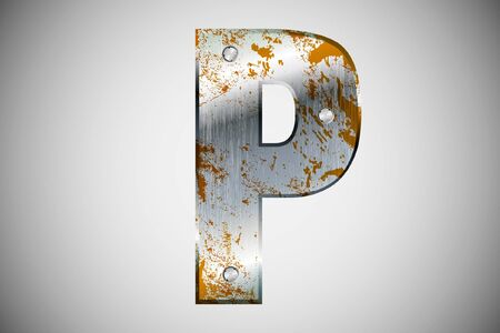 Metal letters of the alphabet P Vector