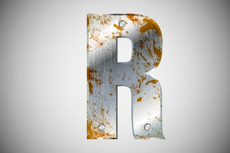 Metal letters of the alphabet R Vector