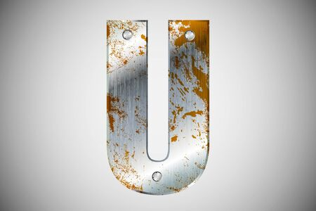 Metal letters of the alphabet U Vector
