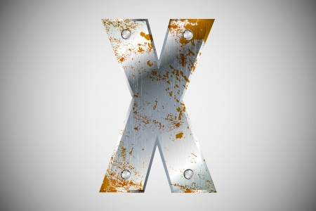 perforation texture: Metal letters of the alphabet X