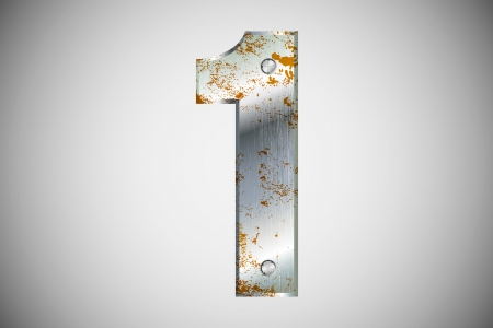 numerical: Metallic number 1 with rivets and screws