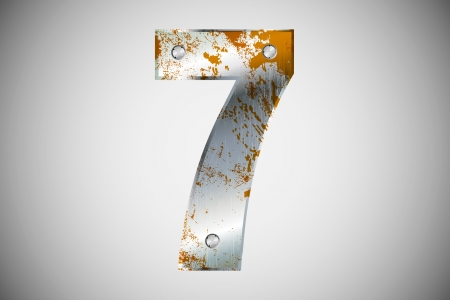 Metallic number 7 with rivets and screws Vector