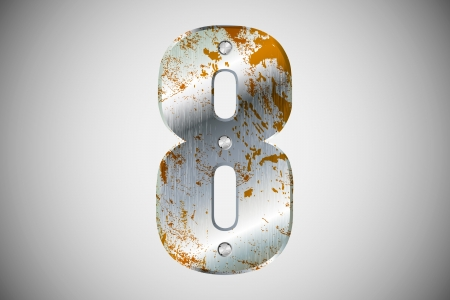Metallic number 8 with rivets and screws Vector