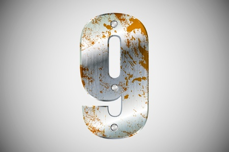 Metallic number 9 with rivets and screws Vector