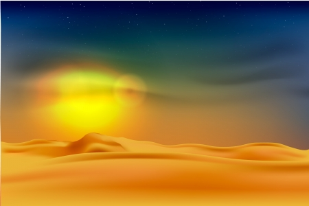 sunset in the desert Stock Vector - 16503525