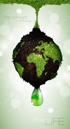 kohle: das Konzept der gr�nen Energie auf dem Planeten Illustration