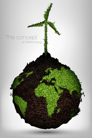 the concept of green energy on the planet Stock Vector - 16493347