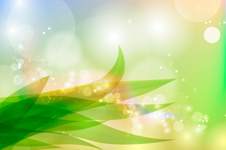 sun lit: Vector background in pastel colors with green grass and dew