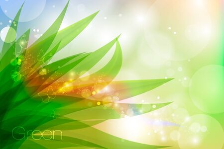 Vector background in pastel colors with green grass and dew Stock Vector - 16493353