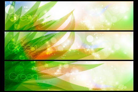 saturated color: Vector banners in pastel colors with green grass and dew Illustration