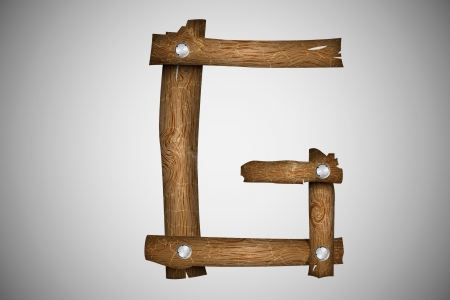 typesetting: Wooden alphabet letter G Illustration