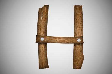 Wooden alphabet letter H Stock Vector - 16493317