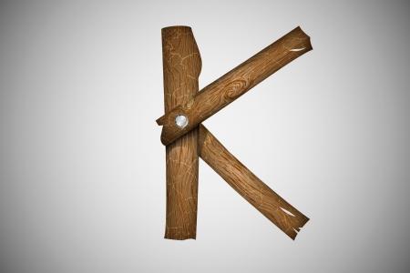 Wooden alphabet letter K Stock Vector - 16493345