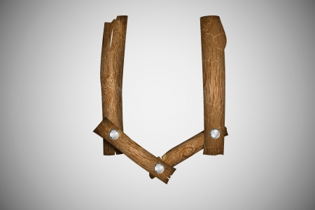 wood planks: Wooden alphabet letter U