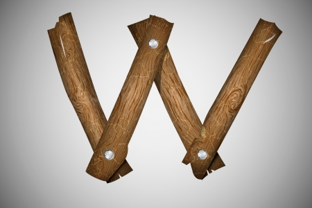 wood log: Wooden alphabet letter W