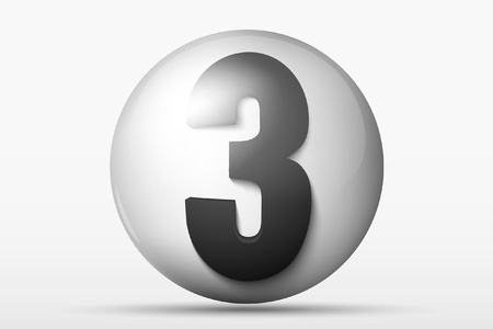 numerology: 3D ball with the number 3 Illustration