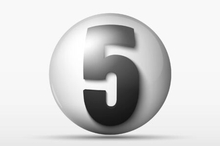 numerology: 3D ball with the number 5 Illustration
